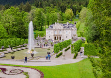 Linderhof Palace is a Schloss in Germany, in southwest Bavaria. ETTAL, GERMANY - JUNE 5, 2016: Linderhof Palace is a Schloss in Germany, in southwest Bavaria. It Stock Photos