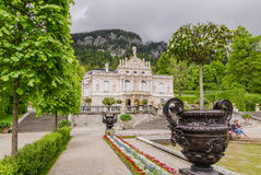 Linderhof Palace is a Schloss in Germany, in southwest Bavaria. ETTAL, GERMANY - JUNE 5, 2016: Linderhof Palace is a Schloss in Germany, in southwest Bavaria. It Stock Photography