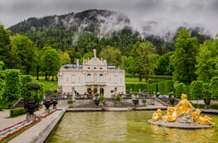 Linderhof Palace is a Schloss in Germany, in southwest Bavaria. ETTAL, GERMANY - JUNE 5, 2016: Linderhof Palace is a Schloss in Germany, in southwest Bavaria. It Royalty Free Stock Photography