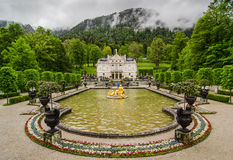 Linderhof Palace is a Schloss in Germany, in southwest Bavaria. ETTAL, GERMANY - JUNE 5, 2016: Linderhof Palace is a Schloss in Germany, in southwest Bavaria. It Stock Image