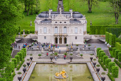 Linderhof Palace is a Schloss in Germany, in southwest Bavaria. ETTAL, GERMANY - JUNE 5, 2016: Linderhof Palace is a Schloss in Germany, in southwest Bavaria. It Stock Images