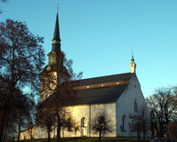 Lindesberg church. White church i evening sun Stock Images