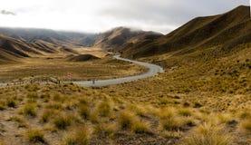 Lindis Durchlauf, Neuseeland stockbild