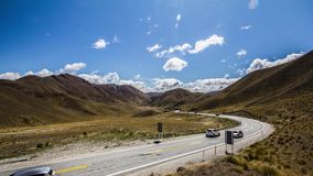 Lindis pass time lapse 4K. Lindis pass time lapse New Zealand. Filmed in 4K. Clouds are moving fast stock video footage