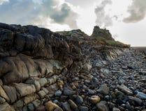 Lindisfarne城堡,圣洁海岛,诺森伯兰角 英国 英国 免版税库存照片