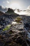 Lindisfarne城堡,圣洁海岛,诺森伯兰角 英国 英国 免版税图库摄影