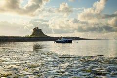 Lindisfarne城堡,圣洁海岛 northumberland 英国 英国 库存照片