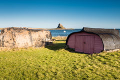 Lindisfarne Boats and Castle Royalty Free Stock Photography