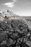 Lindisfarne Castle and beach (black and white) III Royalty Free Stock Photos