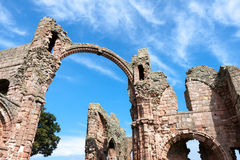 LINDISFARNE CASTLE, HOLY ISLAND/NORTHUMBERLAND - AUGUST 16 : Clo. Se-up view of part of the ruins of Lindisfarne Priory on Holy Island on August 16, 2010 Stock Photo
