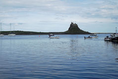 Lindisfarne Castle, Holy Island. Seen from the island's sheltered harbour Royalty Free Stock Photos