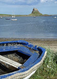 Lindisfarne Castle, Holy Island. Seen from the island's sheltered harbour Royalty Free Stock Photo