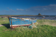 Lindisfarne Castle. Viewed from across the bay on Holy Island Royalty Free Stock Image