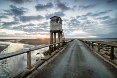 Lindisfarne Droga na grobli Zdjęcia Royalty Free