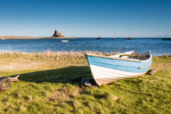 Lindisfarne Harbour and Castle Royalty Free Stock Photography