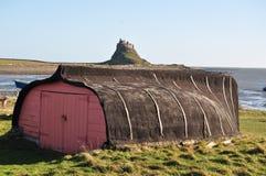 Lindisfarne (Heilig Eiland) - traditionele Bootloods Royalty-vrije Stock Foto's