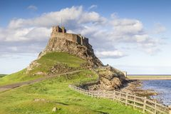 Lindisfarne kasztel, Northumberland, Anglia fotografia royalty free