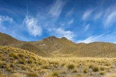 Lindispas die tussen de valleien van de Rivieren van Lindis en Ahuriri-, zuideneiland van Nieuw Zeeland ligt royalty-vrije stock fotografie