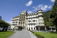 Lindner storslaget hotell Beau Rivage i Interlaken Royaltyfria Bilder