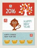 Lindo determinado chino de la bandera del mono del Año Nuevo 2016