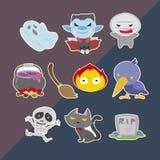 Lindo helloween las etiquetas engomadas Imagen de archivo libre de regalías