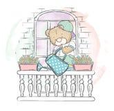 Lindo refiera las flores de riego del balcón Ejemplo del vector para una tarjeta o un cartel Impresión en la ropa Oso encantador Fotografía de archivo