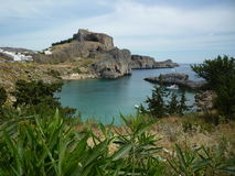 Lindos上城,罗得岛,希腊海岛 免版税图库摄影