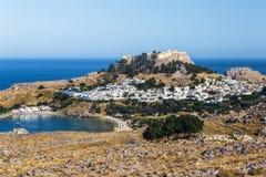 Lindos和上城全景  Lindos 希腊 库存图片