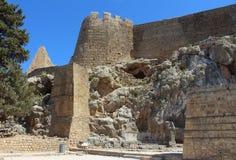 Lindos堡垒墙壁  库存照片