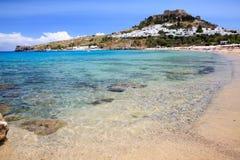 Lindos海滩罗得岛希腊 免版税库存图片