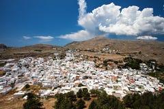 Lindos白色镇在罗得岛 库存图片