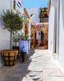 Lindos é o lugar o mais popular do turista na ilha do Rodes Imagens de Stock