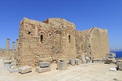 Lindos -罗得岛,希腊废墟  库存图片