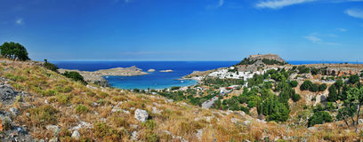 Lindos. Panorama view landsape of lindos on rhodes island, greece Royalty Free Stock Photos