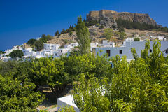 Lindos. Ancient castle, acropolis of Lindos, Rhodes, Greece Stock Photos