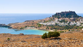 Lindos. Old town acropolis and lagoon Royalty Free Stock Images