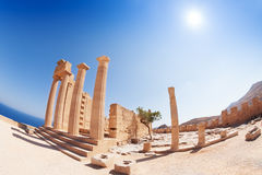 Lindos Acropolis` columns of the Hellenistic stoa Stock Photo