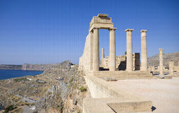 Lindos Acropolis. Columns of ruins at Lindos Acropolis, archeological site on the island of Rhodes, Greece stock photo