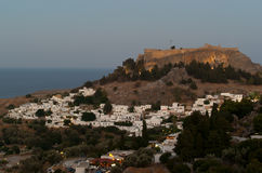 Lindos acropolis in the evening Stock Image