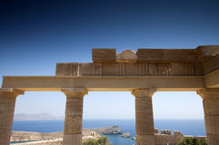 Lindos acropolis located in Rhodes Stock Photography