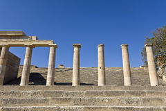 Lindos acropolis at Rhodes island, Greec Stock Images