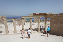 Lindos Acropolis Rhodes island, Greece Royalty Free Stock Images