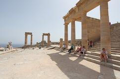 Lindos Acropolis Rhodes island, Greece Royalty Free Stock Photo