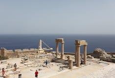 Lindos Acropolis Rhodes island, Greece Stock Photos