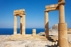 Lindos Acropolis ruins with columns and portico Stock Photography