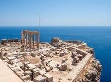 Lindos Acropolis Ruins on the Sea Cliff. Rhodes, Greece stock image