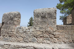 Lindos Actopolis Fortress wall. Rhodes island, Greece Stock Images