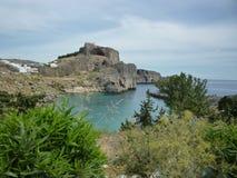 Lindos akropol, Rhodes, grekiska öar Arkivbilder