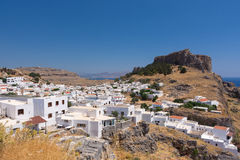 Lindos-Akropolis - Griechenland-Dorf Lizenzfreie Stockfotos