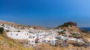 Lindos-Akropolis-Griechenland-Panorama Lizenzfreies Stockfoto